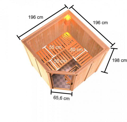 Woodfeeling Systemsauna Kotka mit Eckeinstieg 68 mm