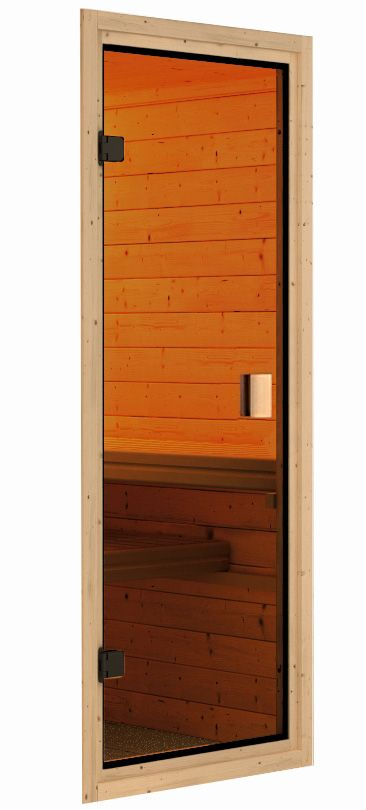 Woodfeeling Systemsauna Ystad mit Eckeinstieg 68 mm