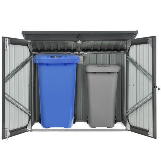 Mülltonnenbox Genk 1,6m² grau aus Metall mit 2 abschließbaren Türen