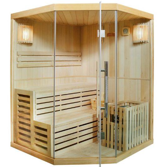 Saunakabine Espoo150 mit Harvia-Saunaofen und Sauna-Zubehör