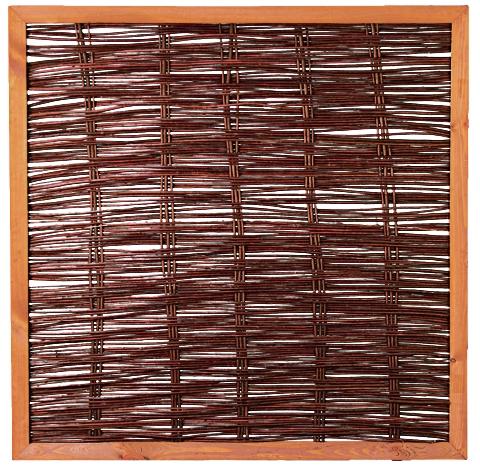 FAKO Weidengeflechtzaun mit umlauf. Rahmen 120 x 120 cm