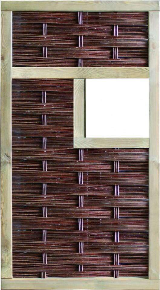LABO-3D Weidengeflechtzaun 94 x 180 cm, 1 Fenster mittig