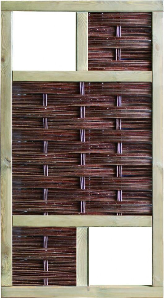 LABO-3D Weidengeflechtzaun 94 x 180 cm, 2 Fenster oben+unten