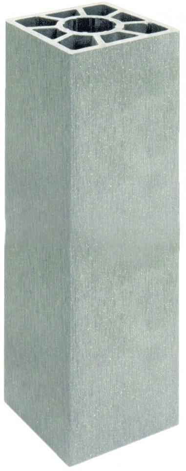 SHANGHAI-Serie Pfosten silbergrau 9 x 9 x 200 cm, WPC-Hohlkammerpfosten