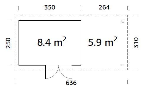 Flachdach Palmako Gartenhaus Lara 8,4+5,9 m²