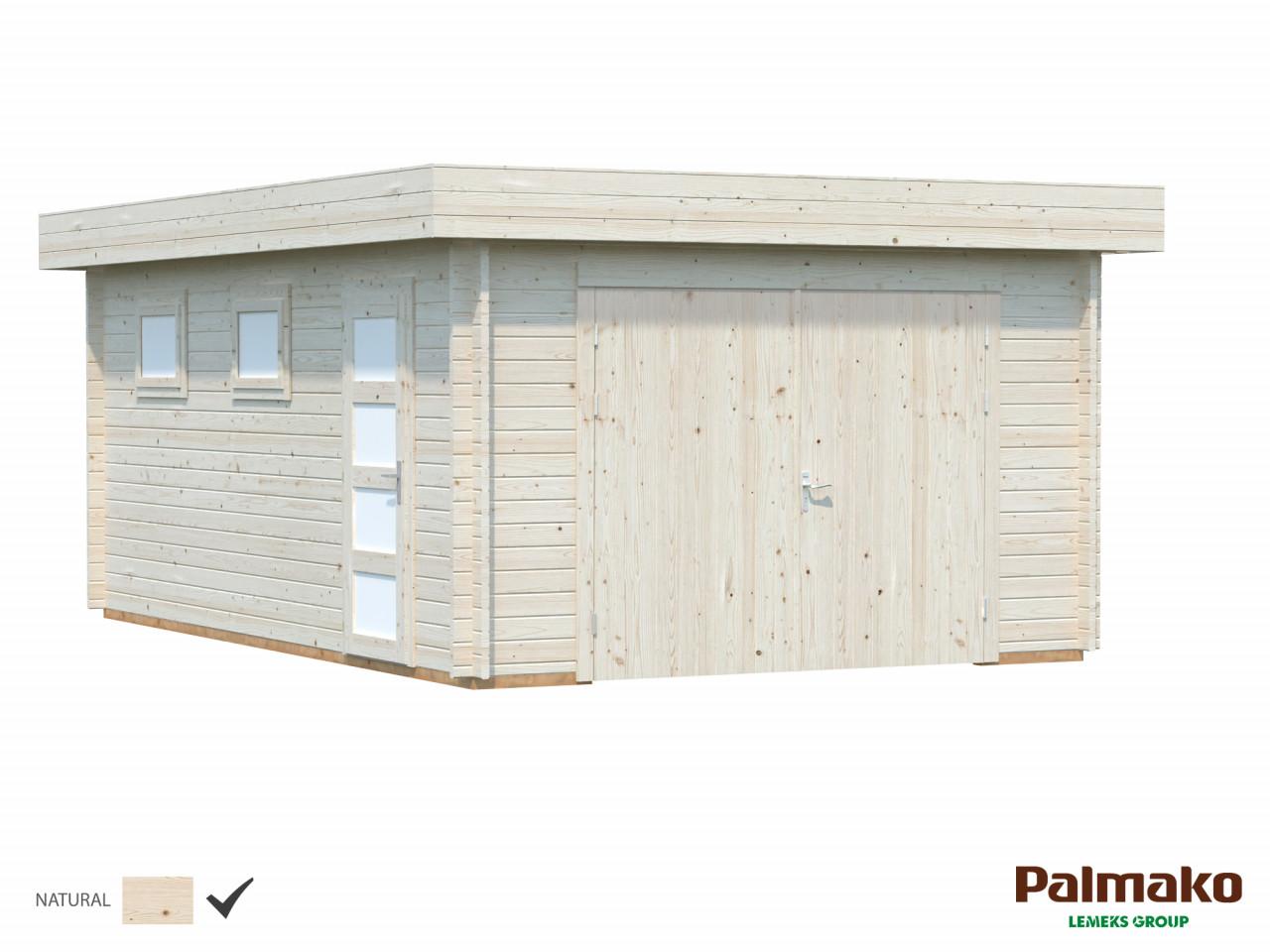 Flachdach Holzgarage Rasmus 19,0 m² mit Holztor