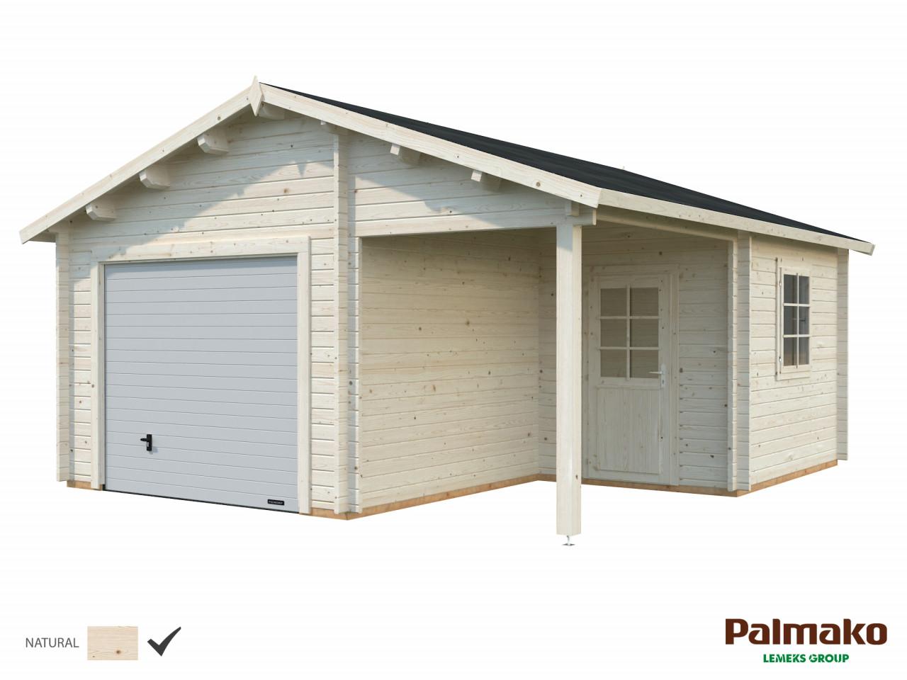 Palmako Holzgarage Roger 21,9+5,2 m²mit Sektionaltor