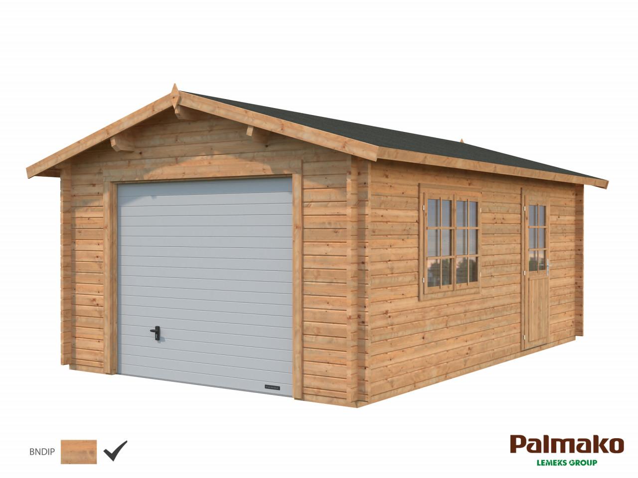 Palmako Holzgarage Roger 19,0 m² mit Sektionaltor