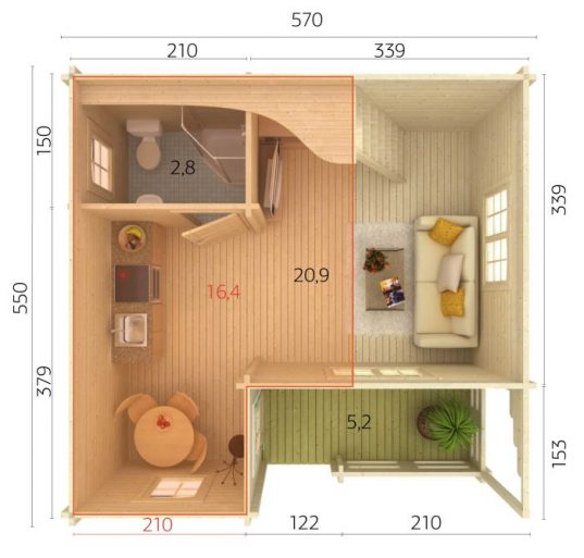 Palmako Ferienhaus Emily 40,1+5,2 m²