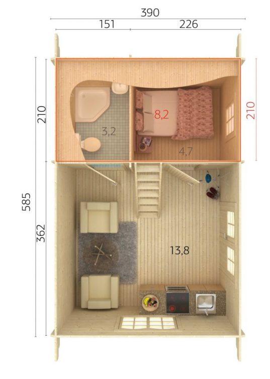 Palmako Ferienhaus Sandra 29,9 m²