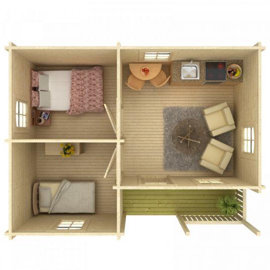 Palmako Ferienhaus Sandra 21,5+3,7 m²